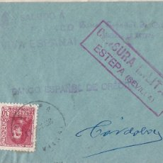 Sellos: F28-4-GUERRA CIVIL. CARTA ESTEPA SEVILLA 1938. LOCAL.CENSURA.. Lote 174270142