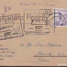 Sellos: F28-5-GUERRA CIVIL. TARJETA POSTAL BILBAO-FRANCIA 1945. CENSURAS ESPAÑA / FRANCIA . Lote 174270267