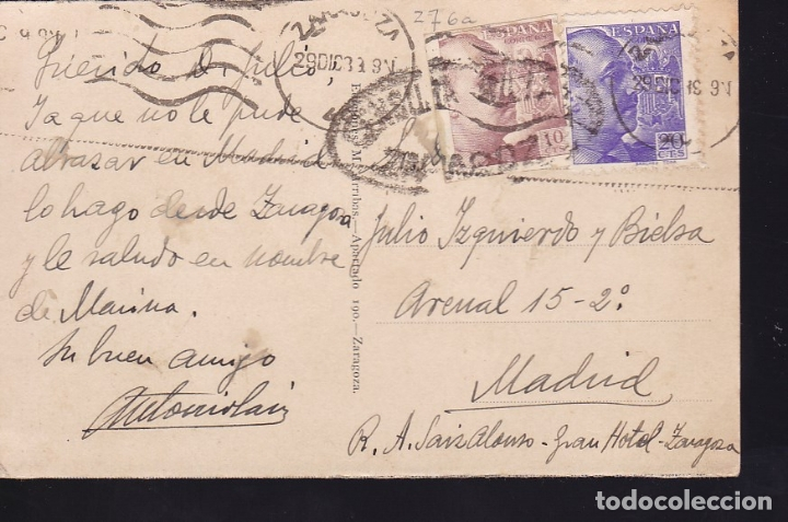 HP6-2-GUERRA CIVIL. POSTAL ZARAGOZA 1939. CENSURA Y TUBERCULOSOS FRANCO SIN DENTAR (Sellos - España - Guerra Civil - De 1.936 a 1.939 - Cartas)