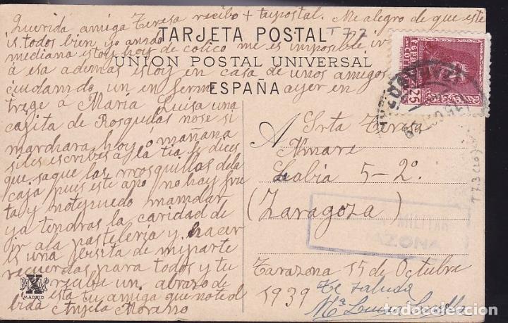 HP6-1-GUERRA CIVIL. POSTAL TARAZONA (ZARAGOZA) 1939. CENSURA (Sellos - España - Guerra Civil - De 1.936 a 1.939 - Cartas)