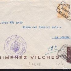 Sellos: F28-6-GUERRA CIVIL. CERTIFICADO BILBAO 1938. CENSURA CARTA ILUSTRADA CON 6 CUARTOS MATASELLADO¡¡. Lote 174272095