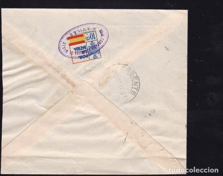 Sellos: F28-6-Guerra Civil. Carta AVILÉS Oviedo 1941. Urgente y Tuberculos. local y Censura - Foto 2 - 174272147