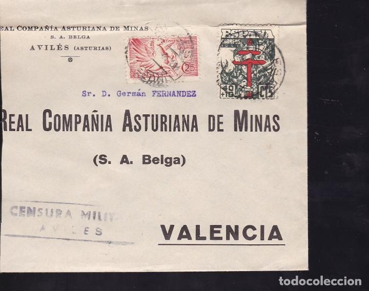 F28-6-GUERRA CIVIL. CARTA AVILÉS OVIEDO 1941. URGENTE Y TUBERCULOS. LOCAL Y CENSURA (Sellos - España - Guerra Civil - De 1.936 a 1.939 - Cartas)