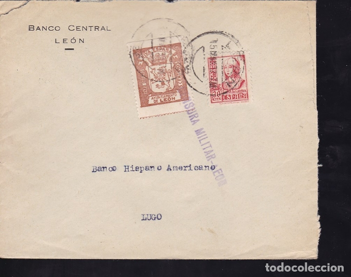 F28-7-GUERRA CIVIL. CARTA LEÓN 1937. CENSURA Y LOCAL (Sellos - España - Guerra Civil - De 1.936 a 1.939 - Cartas)
