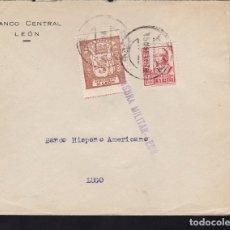 Sellos: F28-7-GUERRA CIVIL. CARTA LEÓN 1937. CENSURA Y LOCAL . Lote 174272175