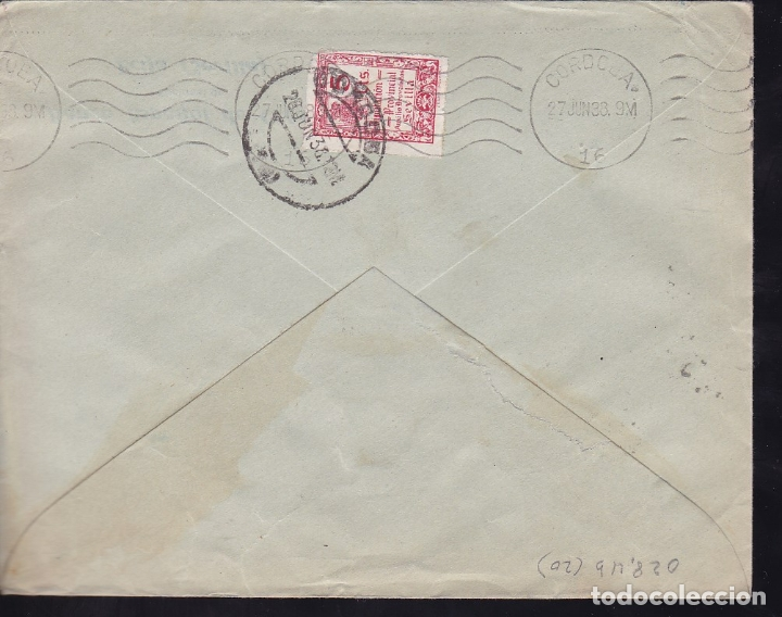 Sellos: F28-7-Guerra Civil. Carta OSUNA (Sevilla) -Córdoba 1938. Censura. Local y Curiosa Devolución - Foto 2 - 174272604