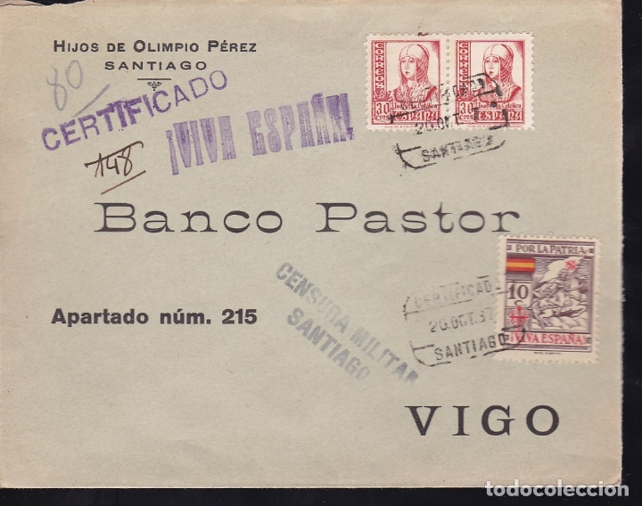 F28-7-GUERRA CIVIL. CERTIFICADO SANTIAGO - VIGO 1937. LOCAL Y CENSURA (Sellos - España - Guerra Civil - De 1.936 a 1.939 - Cartas)