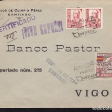 Sellos: F28-7-GUERRA CIVIL. CERTIFICADO SANTIAGO - VIGO 1937. LOCAL Y CENSURA. Lote 174272623