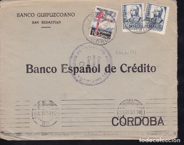 HP1-34-GUERRA CIVIL. CARTA SAN SEBASTIAN 1938. CENSURA Y TUBERCULOSOS. LISTA CÓRDOBA (Sellos - España - Guerra Civil - De 1.936 a 1.939 - Cartas)