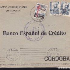Sellos: F28-8-GUERRA CIVIL. CARTA SAN SEBASTIAN 1938. CENSURA Y TUBERCULOSOS. Lote 174272640