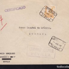 Sellos: F28-8-GUERRA CIVIL. CERIFICADO SEVILLA 1938. ISABEL CATÓLICA 60 CTS . LOCAL Y CENSURA. Lote 174272693