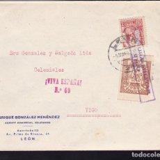 Sellos: F28-9-GUERRA CIVIL. CARTA PUBLICITARIA LEÓN 1937. LOCAL Y CENSURA VIGO. Lote 174272708