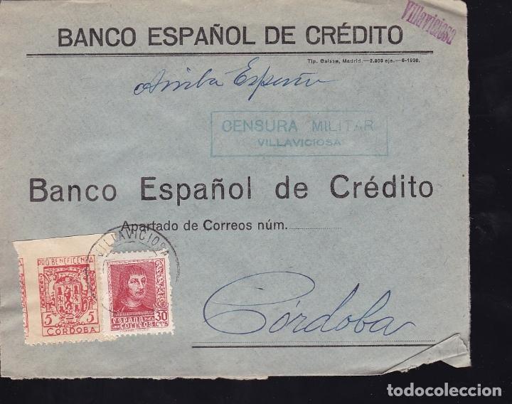 F28-9-GUERRA CIVIL. CARTA VILLAVICIOSA CÓRDOBA 1938 . LOCAL Y CENSURA (Sellos - España - Guerra Civil - De 1.936 a 1.939 - Cartas)