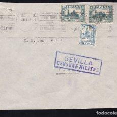 Sellos: F28-9-GUERRA CIVIL. CARTA SEVILLA 1937. LOCAL Y CENSURA. FRANQUEO JUNTA DE DEFENSA . Lote 174272739