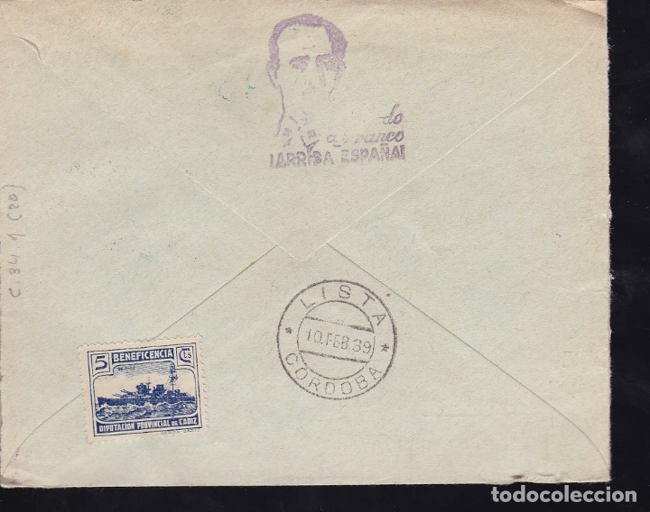 Sellos: F28-10-Guerra Civil. Certificado ALGECIRAS Cádiz 1939. Local y Censura - Foto 2 - 174272782