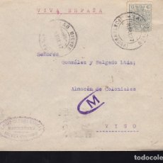 Sellos: F28-11-GUERRA CIVIL. CARTA LAS NIEVES PONTEVEDRA 1937.CENSURA Y FRANQUEO FISCAL ROEL. Lote 174272928