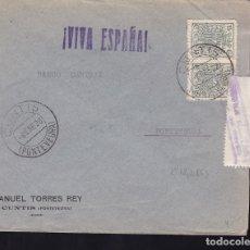 Sellos: F28-11-GUERRA CIVIL. CARTA CUNTIS PONTEVEDRA 1938. FRANQUEO MÓVILES ROEL. CENSURA/FAJA CALDAS REYES. Lote 174272984