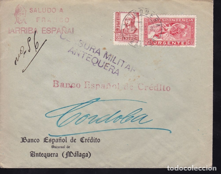 Sellos: F28-12-Guerra Civil. Carta Urgente ANTEQUERA Málaga 1938.Local Censura y Ambulante - Foto 1 - 174273000