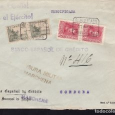 Sellos: F28-12-GUERRA CIVIL.CERTIFICADO MARCHENA SEVILLA 1939. LACRE. LOCAL Y CENSURA NEGRO (NO RESEÑADO). Lote 174273082