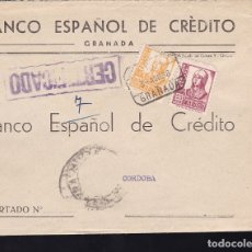 Sellos: F28-12-GUERRA CIVIL.CERTIFICADO GRANADA 1938. LACRE. LOCAL Y CENSURA . Lote 174273087