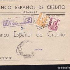 Sellos: F28-12-GUERRA CIVIL.CERTIFICADO GRANADA 1938. LACRE. LOCAL Y CENSURA . Lote 174273087