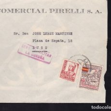 Sellos: F28-13-GUERRA CIVIL.CARTA COMERCIAL PIRELLI CORUÑA 1937.LOCAL Y CENSURA . Lote 174273160