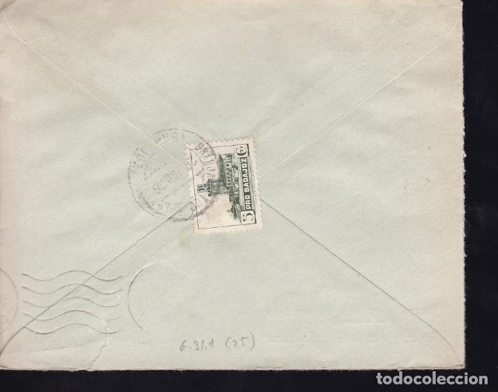 Sellos: F28-13-Guerra Civil.Carta GRANJA de TORREHERMOSA Badajoz 1938. Local y Censura (Lujo) - Foto 2 - 174273199
