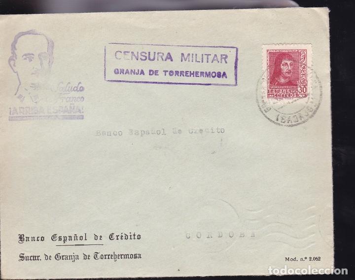 F28-13-GUERRA CIVIL.CARTA GRANJA DE TORREHERMOSA BADAJOZ 1938. LOCAL Y CENSURA (LUJO) (Sellos - España - Guerra Civil - De 1.936 a 1.939 - Cartas)