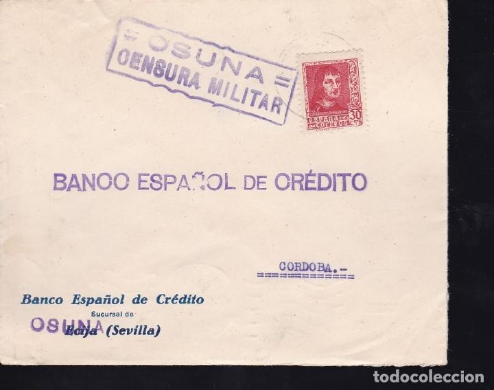 F28-14-GUERRA CIVIL.CARTA OSUNA 1938. LOCAL Y CENSURA (LUJO) (Sellos - España - Guerra Civil - De 1.936 a 1.939 - Cartas)
