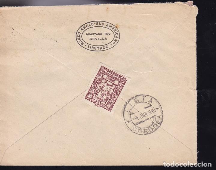 Sellos: F28-14-Guerra Civil.Certificado SEVILLA. 1939. Local y Censura - Foto 2 - 174273308