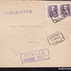 Sellos: F28-14-GUERRA CIVIL.CERTIFICADO SEVILLA. 1939. LOCAL Y CENSURA. Lote 174273308