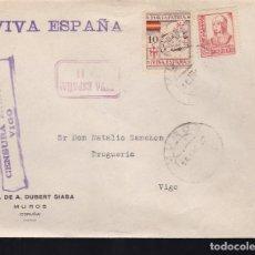 Sellos: F28-14-GUERRA CIVIL.CARTA MUROS CORUÑA 1937. LOCAL Y CENSURA VIGO. Lote 174273373