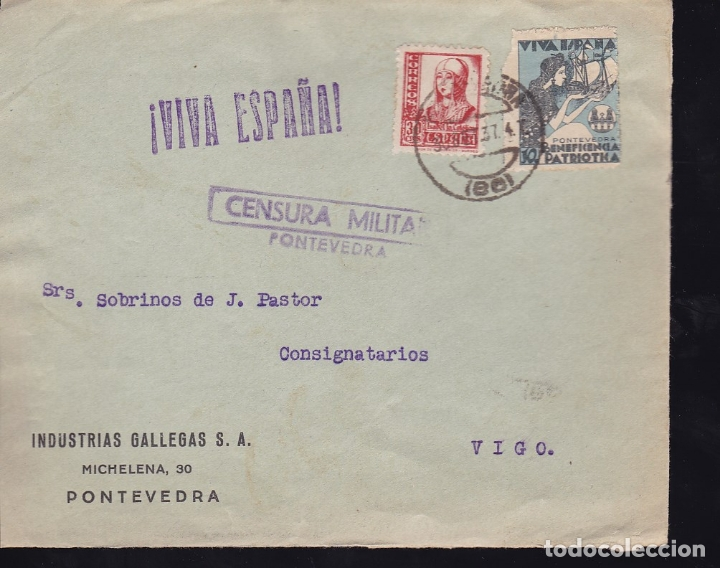 F28-15-GUERRA CIVIL.FRONTAL INDUSTRIAS GALLEGAS PONTEVEDRA 1937. LOCAL Y CENSURA (Sellos - España - Guerra Civil - De 1.936 a 1.939 - Cartas)