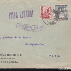 Sellos: F28-15-GUERRA CIVIL.FRONTAL INDUSTRIAS GALLEGAS PONTEVEDRA 1937. LOCAL Y CENSURA . Lote 174273405