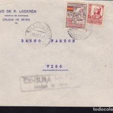 Sellos: F28-16-GUERRA CIVIL. CARTA CALDAS DE REYES PONTEVEDRA 1937. LOCAL Y CENSURA. Lote 174273532