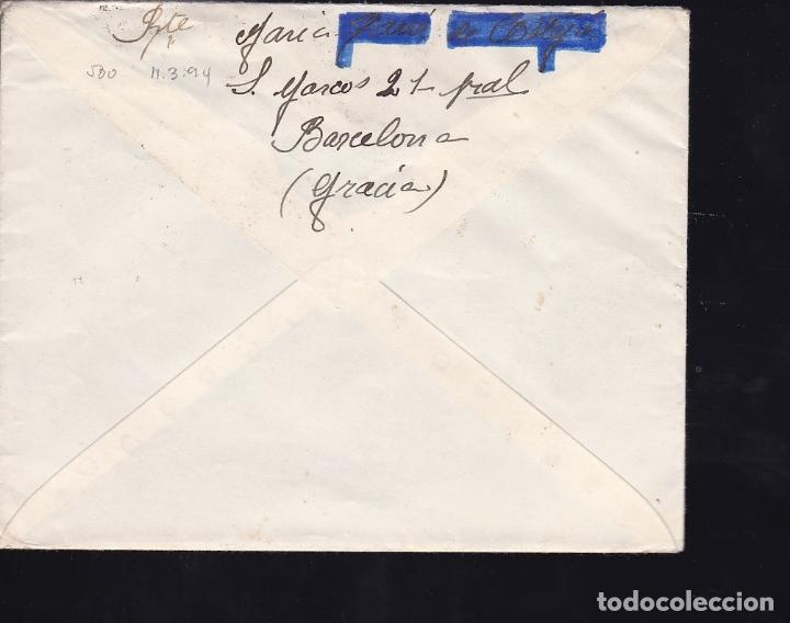 Sellos: F28-16-Guerra Civil. Carta BARCELONA-CORUÑA 1939. Censura y Local - Foto 2 - 174273573