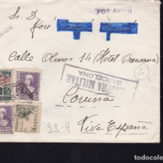 Sellos: F28-16-GUERRA CIVIL. CARTA BARCELONA-CORUÑA 1939. CENSURA Y LOCAL . Lote 174273573