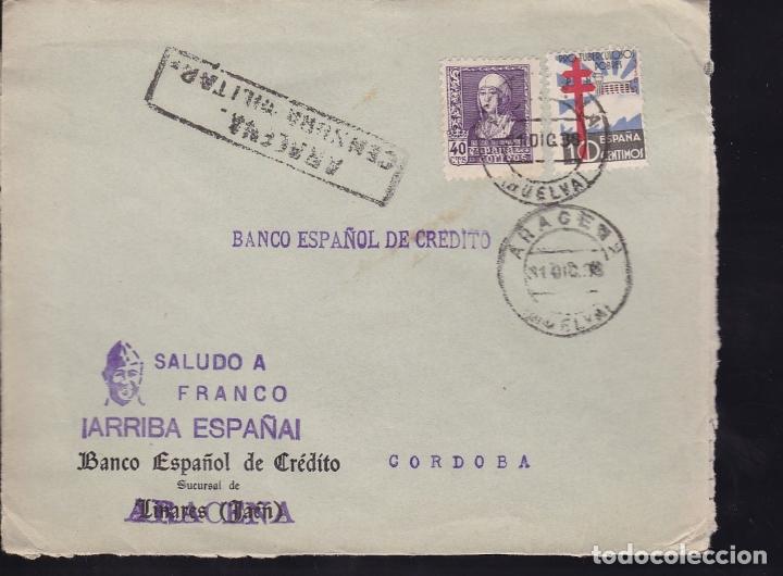 F28-17-GUERRA CIVIL. CARTA ARACENA HUELVA 1938. TUBERCULOSOS Y CENSURA (Sellos - España - Guerra Civil - De 1.936 a 1.939 - Cartas)
