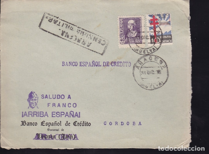 HP1-37-GUERRA CIVIL. CARTA ARACENA HUELVA 1938. TUBERCULOSOS Y CENSURA (Sellos - España - Guerra Civil - De 1.936 a 1.939 - Cartas)