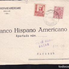 Sellos: F28-18-GUERRA CIVIL. FRONTAL BEJAR SALAMANCA 1937. CENSURA Y FRANQUEO MISTO FISCAL ROEL. Lote 174273644