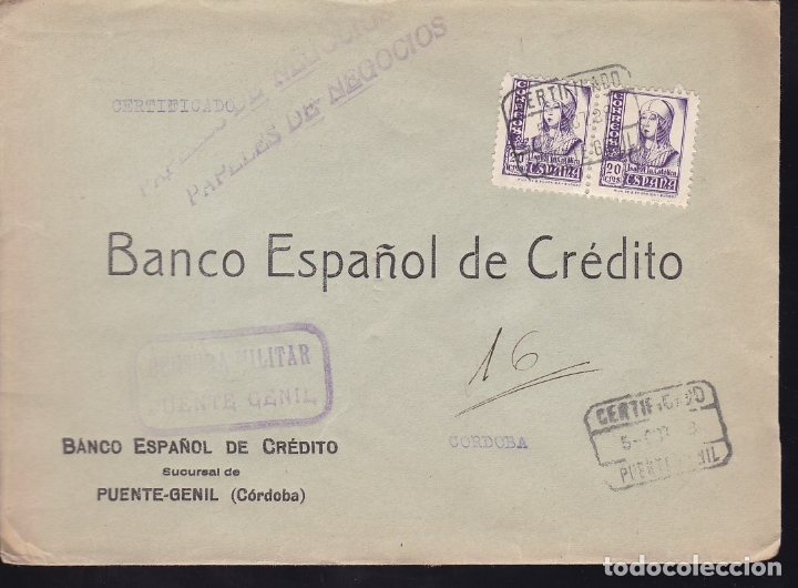 F28-18-GUERRA CIVIL. CERTIFICADO PUENTE-GENIL CÓRDOBA 1938. CENSURA (Sellos - España - Guerra Civil - De 1.936 a 1.939 - Cartas)