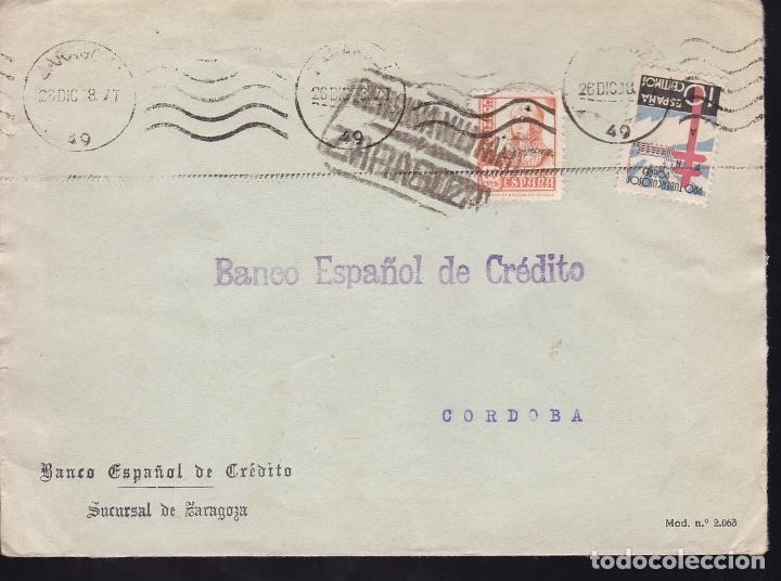 F28-18-GUERRA CIVIL. CARTA ZARAGOZA 1938. CENSURA Y TUBERCULOSOS (Sellos - España - Guerra Civil - De 1.936 a 1.939 - Cartas)