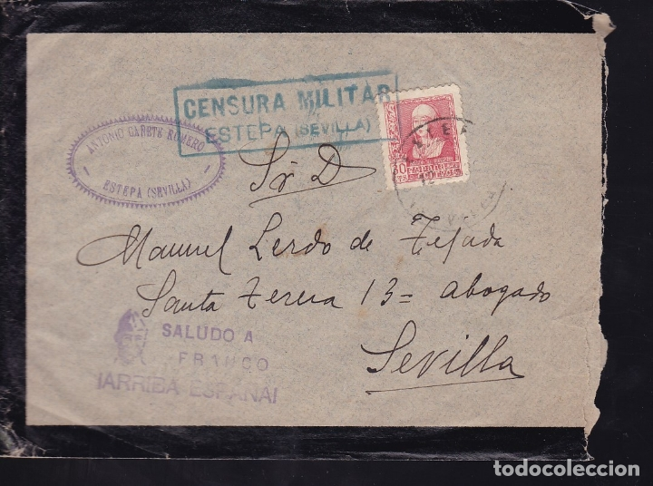 F28-18-GUERRA CIVIL. CARTA ESTEPA SEVILLA 1939. CENSURA Y LOCAL (Sellos - España - Guerra Civil - De 1.936 a 1.939 - Cartas)