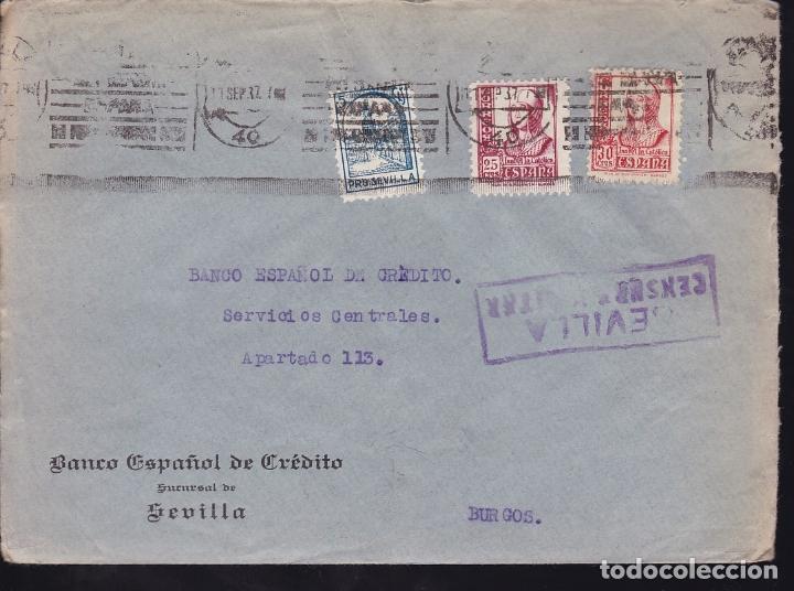 F28-19-GUERRA CIVIL. CARTA SEVILLA 1937. CENSURA Y LOCAL (Sellos - España - Guerra Civil - De 1.936 a 1.939 - Cartas)