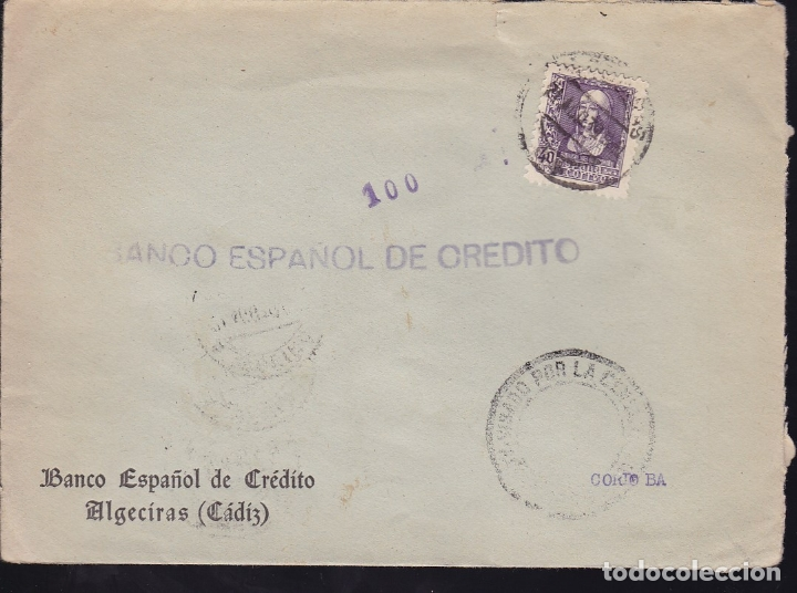 Sellos: F28-19-Guerra Civil. Carta ALGECIRAS Cádiz 1939. Censura y Local - Foto 1 - 174273725
