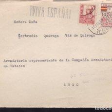 Sellos: F28-19-GUERRA CIVIL. FRONTAL VIVERO LUGO 1938. LOCAL Y CENSURA (NO RESEÑADA ASI). Lote 174273735