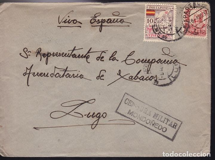 F28-20-GUERRA CIVIL.CARTA MONDOÑEDO LUGO 1937. LOCAL Y CENSURA (NO RESEÑADA ASÍ) (Sellos - España - Guerra Civil - De 1.936 a 1.939 - Cartas)