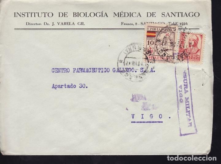 F28-20-GUERRA CIVIL.CARTA INSTITUTO BIOLOGÍA MÉDICA SANTIAGO CORUÑA 1937. LOCAL Y CENSURA (Sellos - España - Guerra Civil - De 1.936 a 1.939 - Cartas)