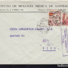 Sellos: F28-20-GUERRA CIVIL.CARTA INSTITUTO BIOLOGÍA MÉDICA SANTIAGO CORUÑA 1937. LOCAL Y CENSURA. Lote 174279812