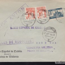 Sellos: F28-20-GUERRA CIVIL.CARTA PALMA DE MALLORCA 1930 (ERROR FECHADOR). LOCAL Y CENSURA . Lote 174279924